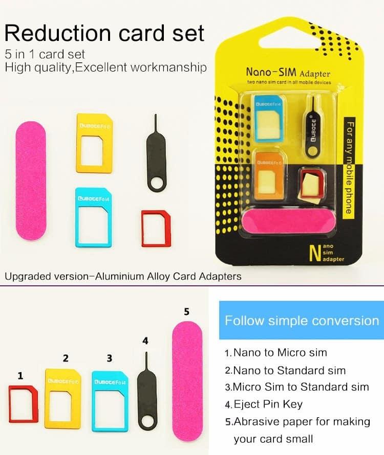 5 w 1 zestaw adapterów karty sim