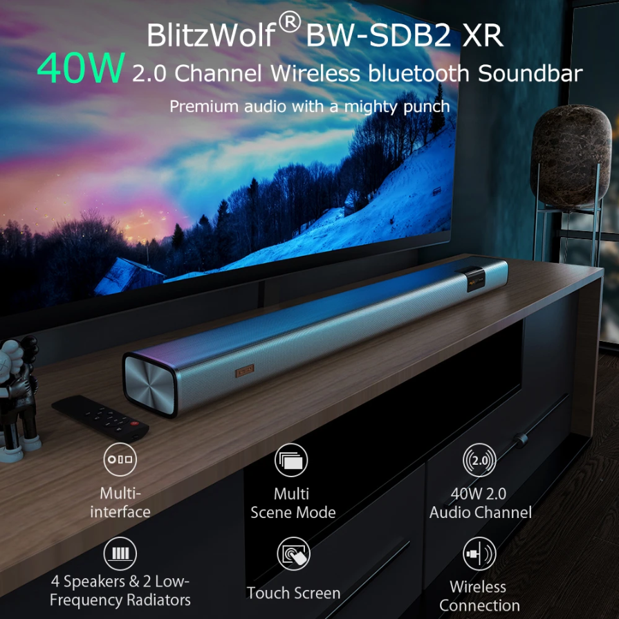 BlitzWolf® BW-SDB2 XR Wireless Soundbar with 40W 2.0 Audio Channel, 4 Speakers & 2 Low-Frequency Radiators, Multi-interface, Multi Scene Modes, Touch Screen